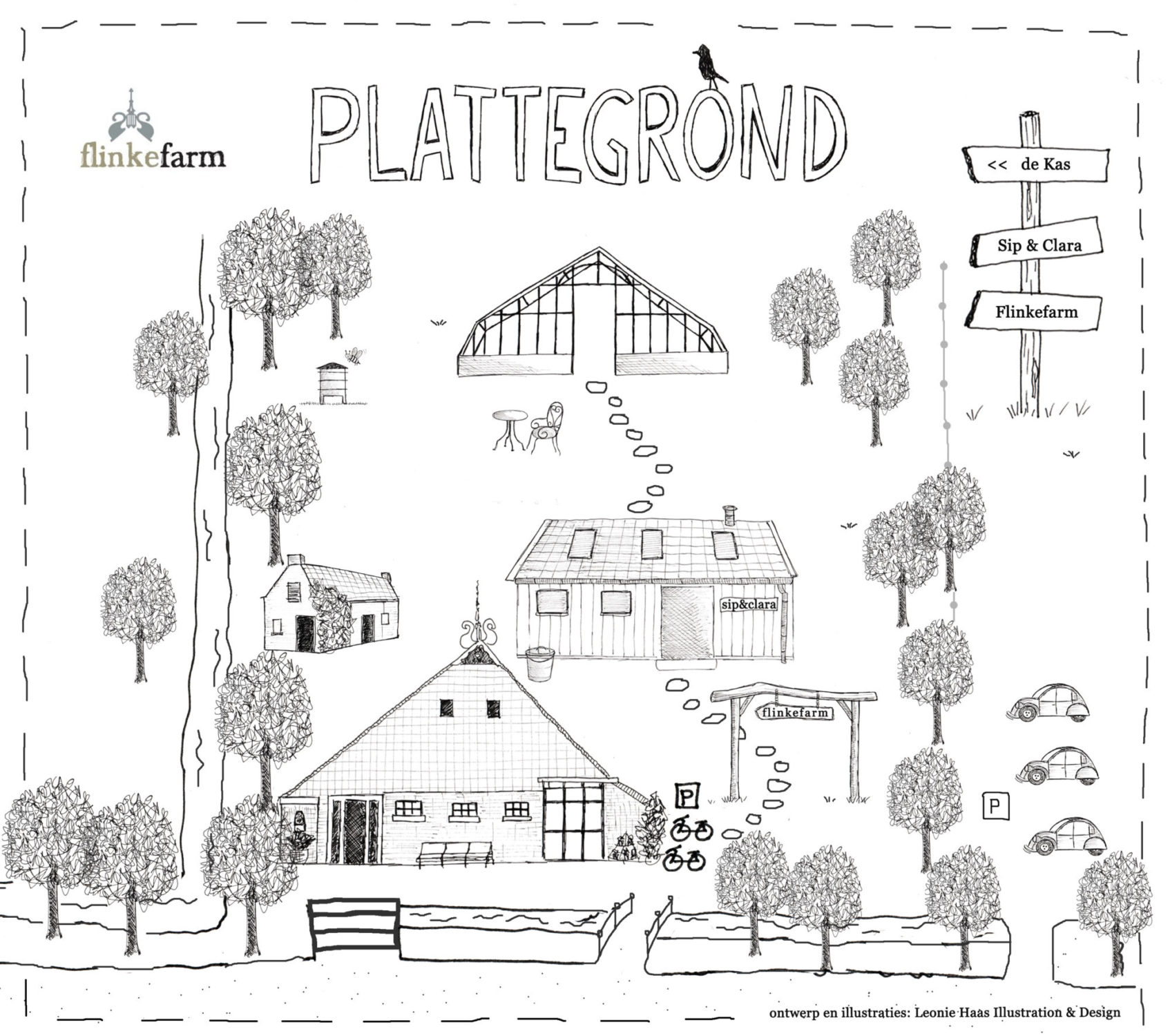 plattegrond, illustraties map, illustratie, illustration, pentekening, Leonie Haas, Flinkefarm, It Flinkeboskje, Friesland, huwelijk, ontwerp, tekening, drawing, boerderij,