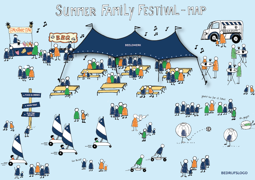 plattegrond, illustratie, illustrated map, Leonie Haas, illustrator, stadsplattegrond, kaart, festival, evenement, beurs